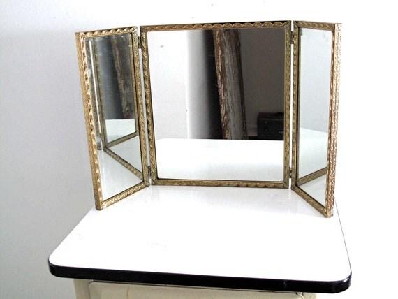 vintage triptych mirror gold framed trifold by snapshotvintage. Black Bedroom Furniture Sets. Home Design Ideas