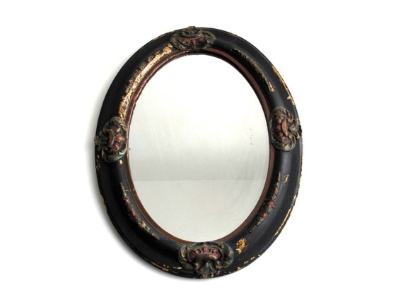 Antique Black Oval Mirror Wood Frame Bathroom By