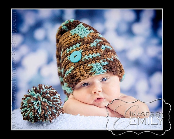 Stocking Cap Hat/Long Tail Hat in Blue/Brown pom pom (fits babies, toddlers, children and adults)
