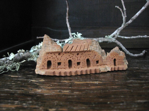 Carving Wood House Handmade Wooden Carved Vintage