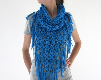 Crochet fringe cowl neck scarf in electric blue