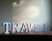 RESERVED for Birdlover13 - TRAVEL Wooden Letters with Upcycled Vintage Nat Geo Map