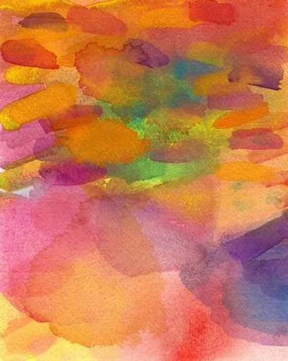 River, Abstract Watercolor Painting, Original abstract art pink orange green