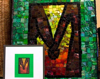 Stained Glass Mosaic of YOUR design, card, drawing, invitation, etc.  Made to order and one of a kind.