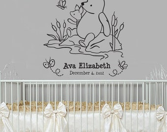 Classic Winnie the Pooh and Piglet monogram baby quote vinyl wall decal