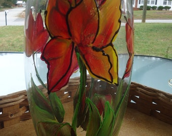 hand painted vase with red tulip design with glitter