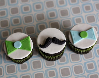 Fondant Mustache and Bow Tie Toppers for Birthday or Baby Shower Cupcakes, Cookies or Mini-Cakes