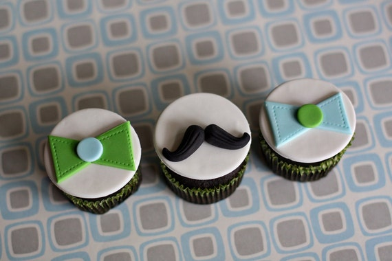 fondant mustache and bow tie toppers for birthday or baby shower
