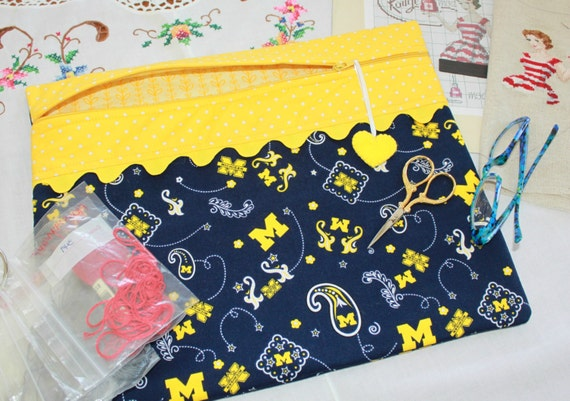 University of Michigan Wolverines Cross Stitch, Sewing, Embroidery Project Bag