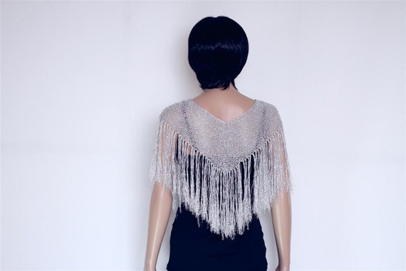 Silver Knitted Shawl Long Fringe Scarf, Crocheted Scarf  Womens Clothing Accessories Crocheted shawl