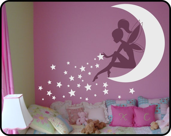 FAIRY Wall Decal Sitting on Moon with Pixie Dust Stars Vinyl Wall Decal