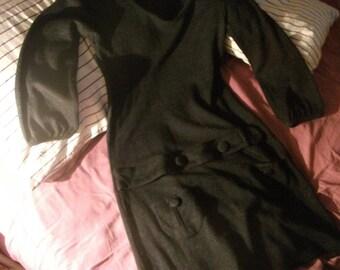 1960s style WINTER DRESS, dark grey, above knee, size S-M