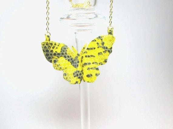 Butterfly Necklace  Yellow Black  Leather Snake print  Free Shipping