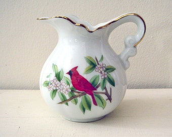 Vintage Porcelain Creamer with Cardinal and Spring Flowers