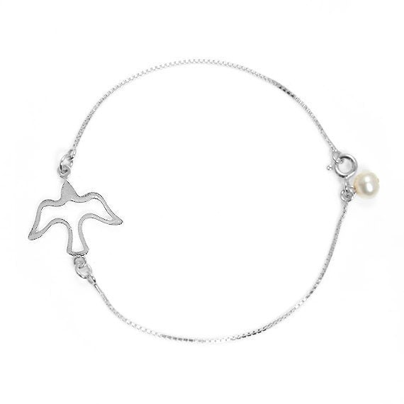 SEAGULL BRACELET Sterling Silver 925 , Friendship Bracelet , Bird charm Bracelet , Nautical jewelry