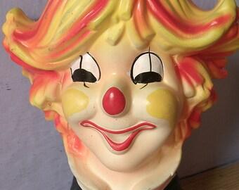 vintage 1960's Inarco clown head vase, ceramic vase, Yellow pottery vase, happy face, smiling face, Birthday Clown, Birthday party decor