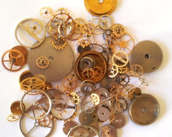 100 GEARS, Cogs & WHEELS only Steampunk watch parts, Steampunk Watch Pieces, old watch parts, vintage watch parts, steampunk supplies
