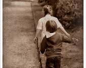 8x12 - nostalgic wall art - sepia art print - friendship - sister and brother - In Your Footsteps - fine art photograph