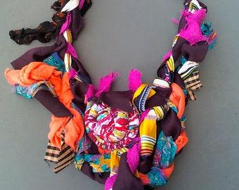 Tribal ' highlander' fabric  necklace