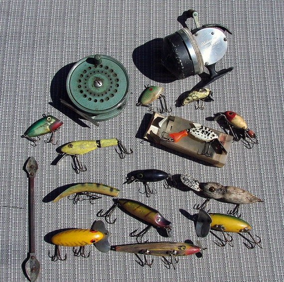 Old Vintage Fishing Baits and Reels Great for Crafts