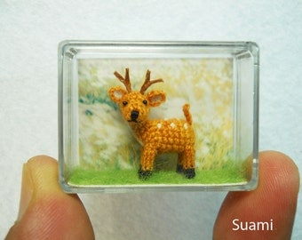 Cute Fawn Buck - Teeny Tiny Crocheted Fawn Deer - Made To Order