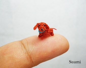 1/3 Inch Micro Crochet Dachshund Sausage Dog - Tiny Amigurumi Miniature Dog Dachshunds - Made To Order