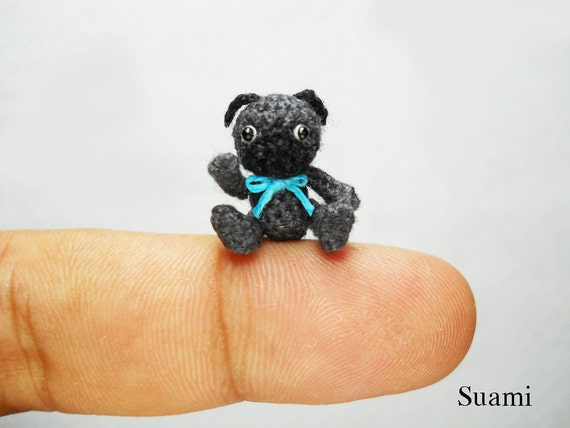 Mini Black Pug Dog - Teeny Tiny Crochet Miniature Dogs  - Made To Order