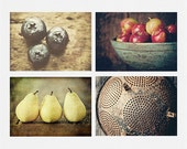 Rustic Kitchen Decor - Rustic Kitchen Art - Set of 4 Kitchen Prints - Country Kitchen Wall Art - Farmhouse Art for Kitchen - Fruit Pictures.
