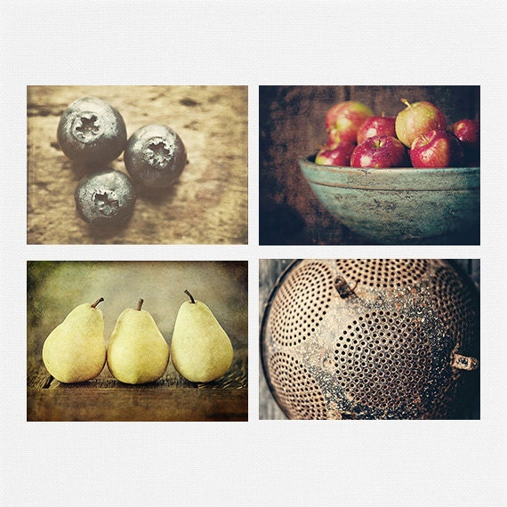Rustic Kitchen Decor Rustic Kitchen Art Set By