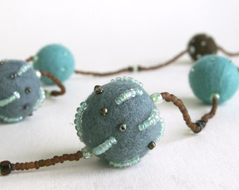 Turquoise - Blue - Brown - Hand felted wool necklace embroidered with small glass beads