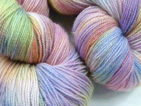 Sock Weight Stardust Yarn: Titania, Merino/Nylon/Stellina 438 yds