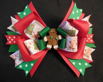 Gingerbread man bow, large 5 inch Christmas bow