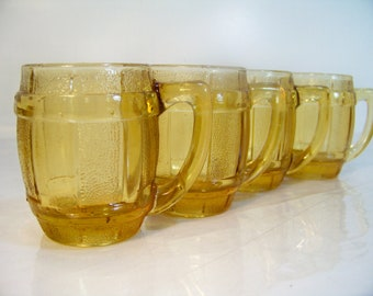 Vintage Shot Glass Set  Amber Glass Beer Barrel Set of 4