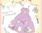 Tea Party, Bunting and Polka Dot Jumperskirt Dress Made to Order