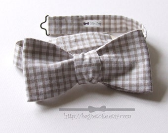 Taupe Gingham, Bow Tie, freestyle bowtie for men, adjustable.