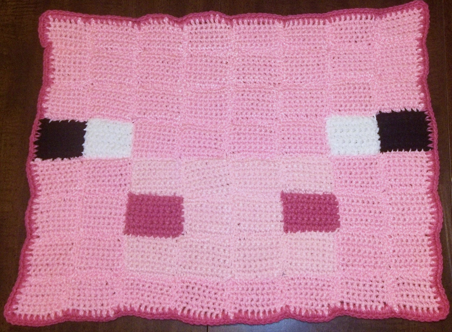 Minecraft pig crochet rug made to order by harmonden on etsy Controller rug