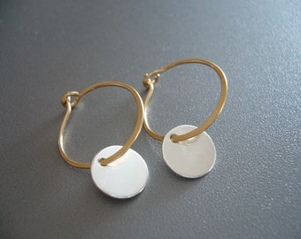14K Gold Hoop Earrings Sterling Silver Disc Earrings Gold Hammered Earrings