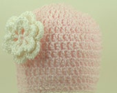 CLEARANCE SALE - Light Pink Baby Hat With White Layered Flower - Baby/Infant 0-3 Months - Ready To Ship -  Handmade & Crocheted