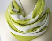 Lime Green & White Striped Jersey Infinity Scarf Extra Wide