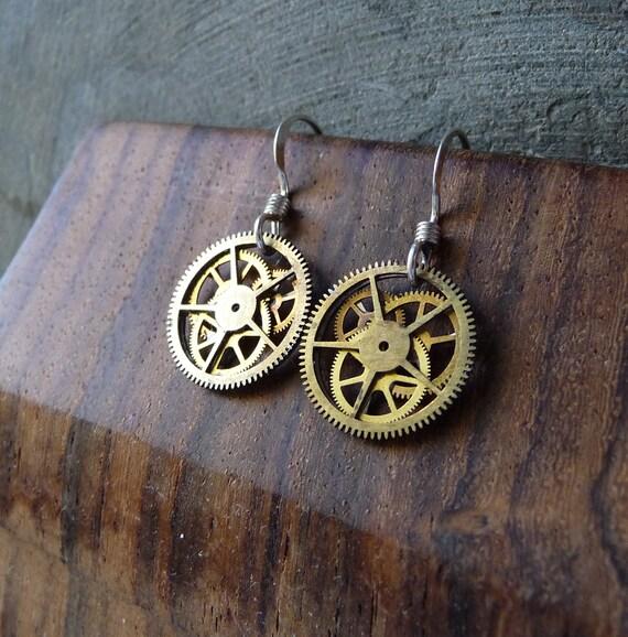 """Earrings Gearrings """"Gearrings Ksi"""" Elegant Recycled Mechanical Watch Gear Dangle Sterling Silver French Wire Hook Steampunk Earrings"""