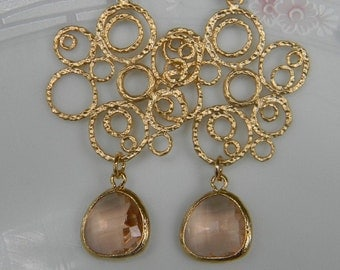 Champagne Peach Dangle Earrings Matte Gold Bubble-Bride-Bridal-Wedding Jewelry