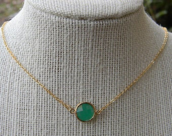 Palace Green Opal Necklace in Gold-Layering Piece, Bride, Bridal Jewelry, Bridesmaid Gift, Christmas Gift