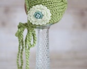 Green tone Newborn Rounded Bonnet. Ready to ship