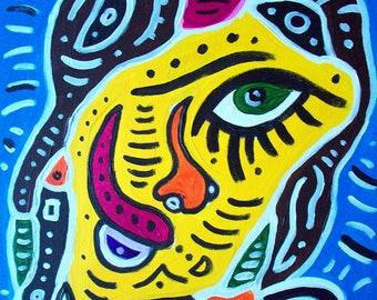 Girl with Barretts Art Print on Cardstock