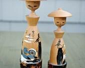 RESERVED vintage kokeshi dolls