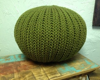 Knitted pillow pouf ottoman olive green