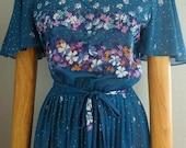 Retro 1970s Blue Dress