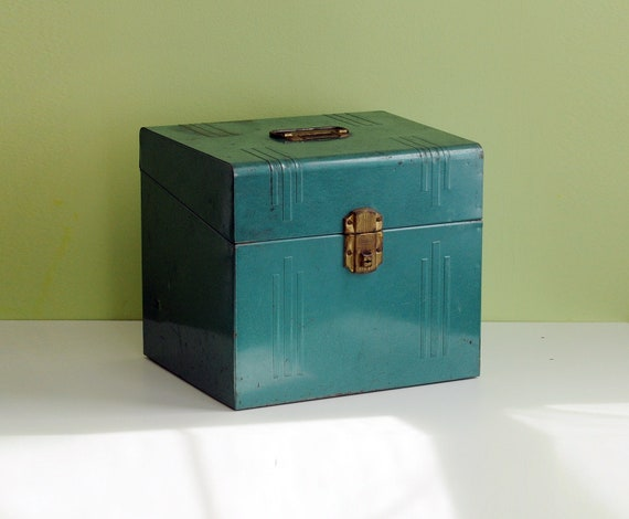 50s large industrial metal box blue green portable file Good Friend rusty rustic chippy
