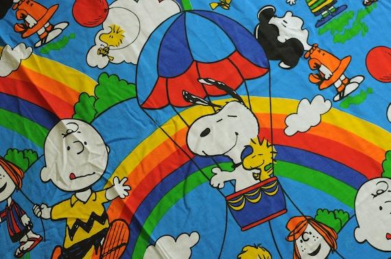 60s 70s Peanuts Gang Rainbow Bed Sheet Fabric Snoopy Charlie