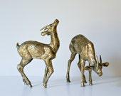 Large Brass Animal Pair - Hollywood Regency Mid Century